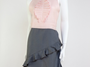 Women's Pink and Gray Tuxedo Style Apron