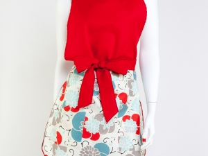 Ladies Full Tulip Style Apron- Red Floral