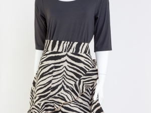 Zebra (Black and White) Print Half Apron