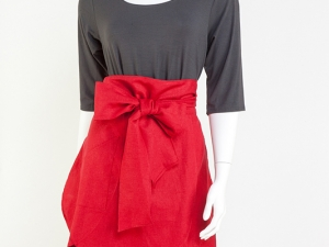 Cherry Red Tulip Half Apron by Ann Perry Designs